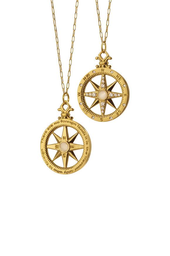 Monica Rich Kosann Yellow Gold Moonstone White Diamond Global Compass