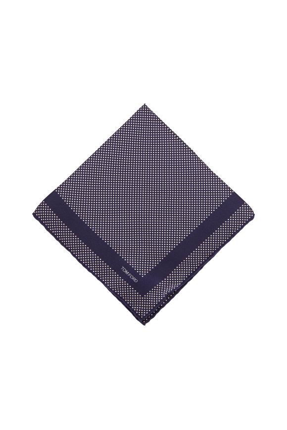 Tom Ford Navy Blue Dot Silk Pocket Square