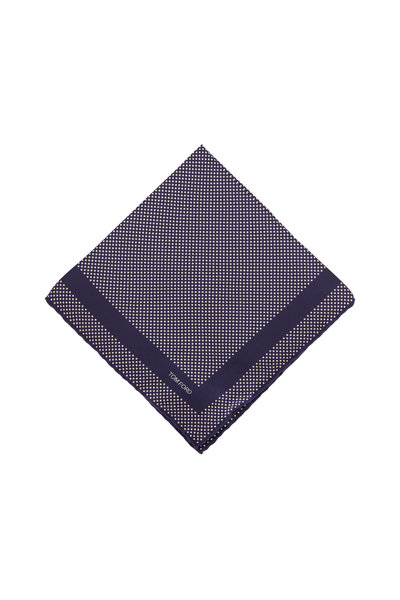 Tom Ford - Navy Blue Dot Silk Pocket Square