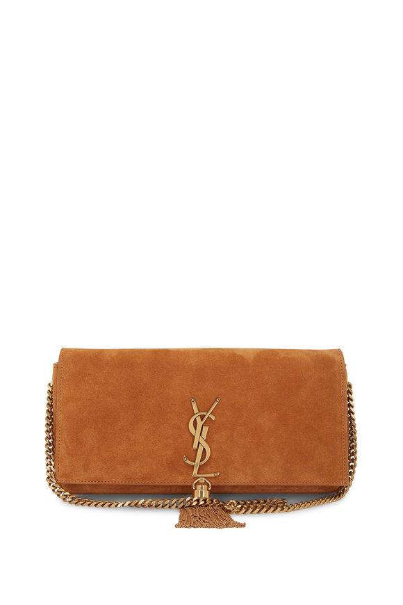 Saint Laurent Kate Brown Suede Tassel Shoulder Bag