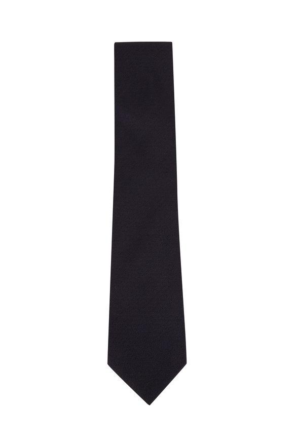 Tom Ford Navy Blue & Black Tic Silk Necktie