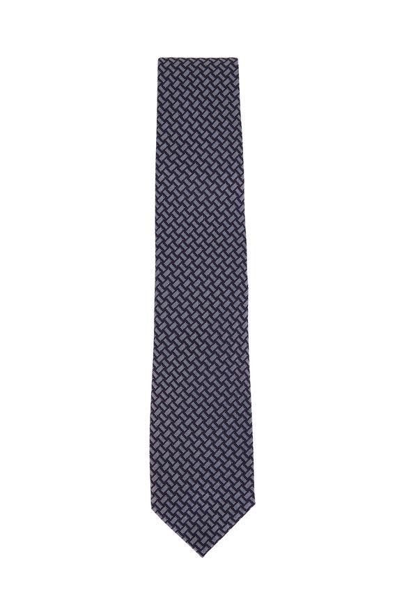 Tom Ford Navy Blue Geometric Silk & Cotton Necktie