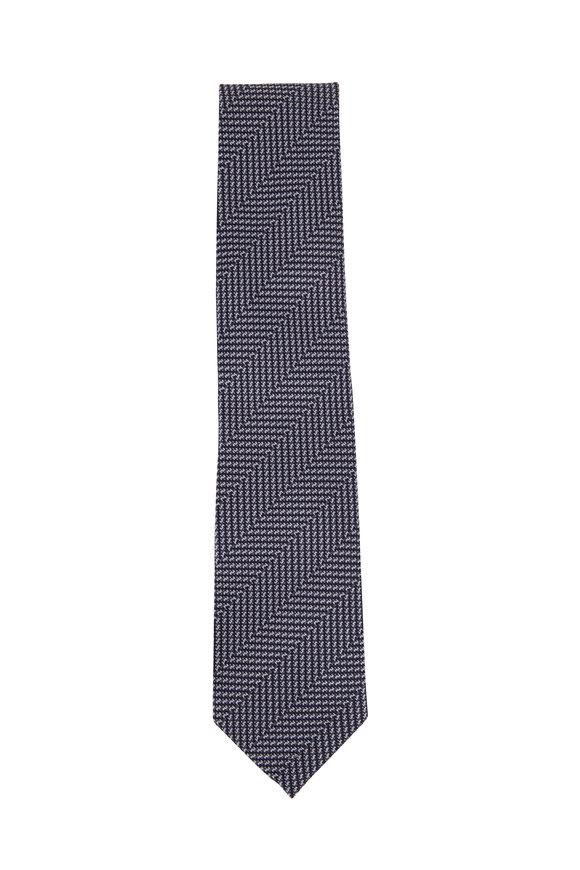 Tom Ford Blue & Navy Blue Herringbone Silk Necktie