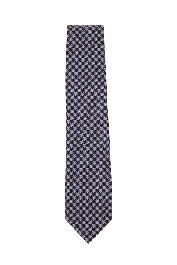 Tom Ford Blue Large Weave Silk Necktie