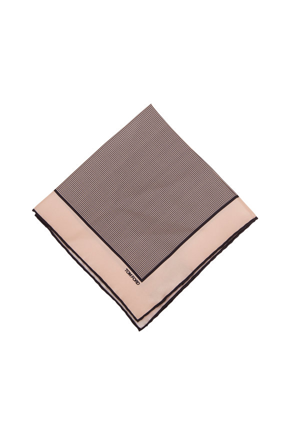 Tom Ford Light Pink & Navy Blue Silk Pocket Square