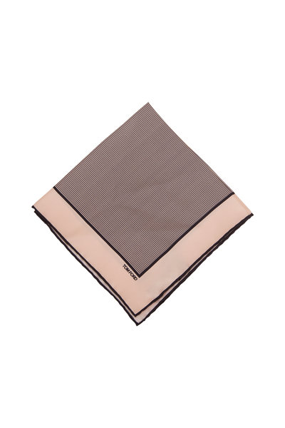 Tom Ford - Light Pink & Navy Blue Silk Pocket Square