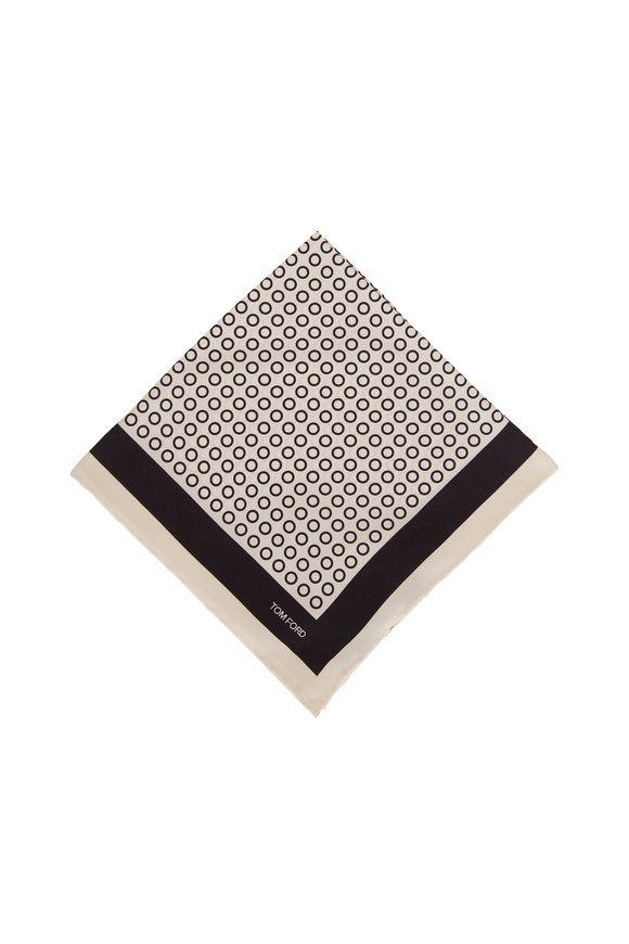 Tom Ford Beige & Black Dot Silk Pocket Square