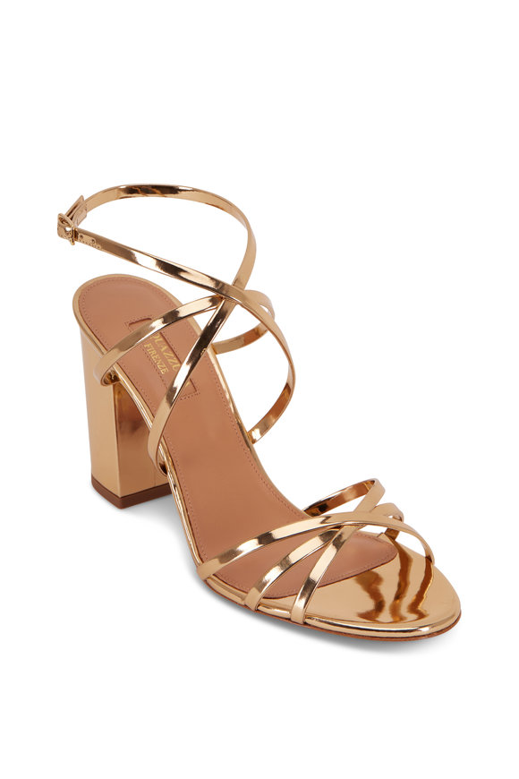 Aquazzura Gin Gold Metallic Leather Strappy Sandal, 85mm