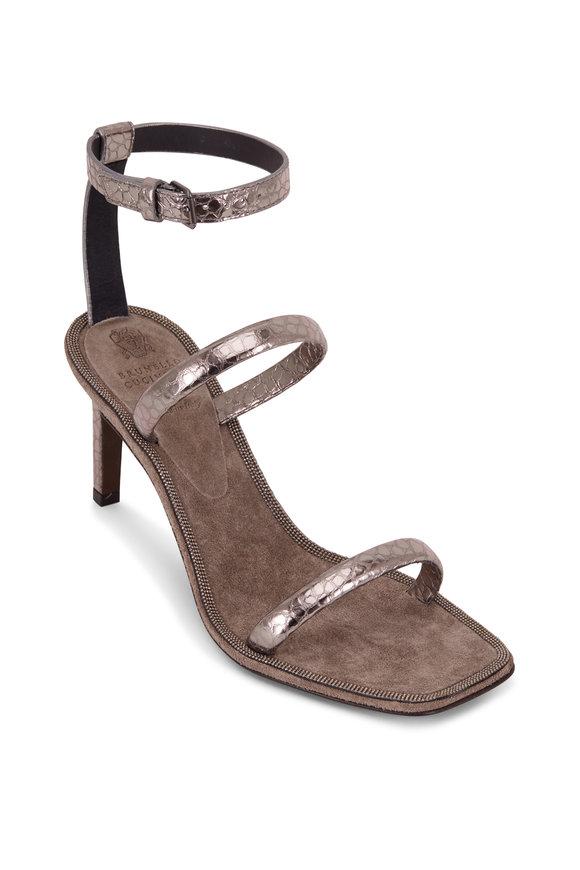 Brunello Cucinelli Gray Textured Leather Three Strap Sandal, 80mm