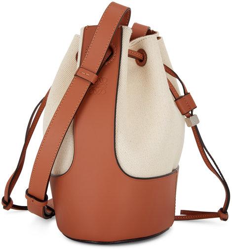 Loewe Small Balloon Ecru & Tan Leather & Canvas Bag