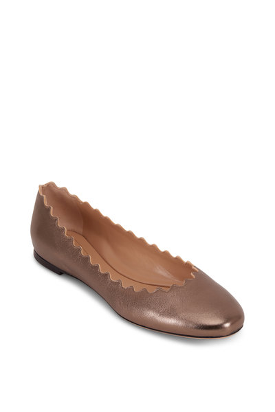 Chloé - Lauren Laminated Pewter Scalloped Ballet Flat