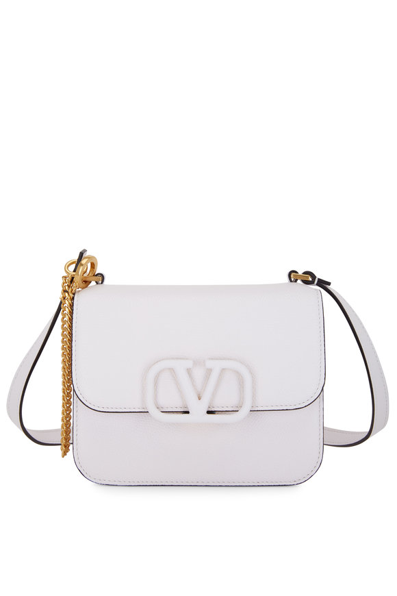 Valentino Garavani V-Sling White Grained Leather Small Shoulder Bag