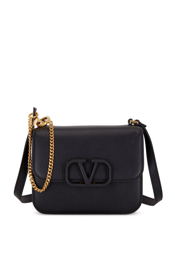 Valentino Garavani V-Sling Black Grained Leather Small Shoulder Bag