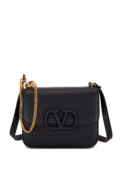 Valentino Garavani - V-Sling Black Grained Leather Small Shoulder Bag