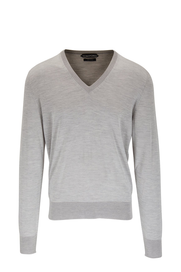 Tom Ford Light Grey Silk V-Neck Sweater