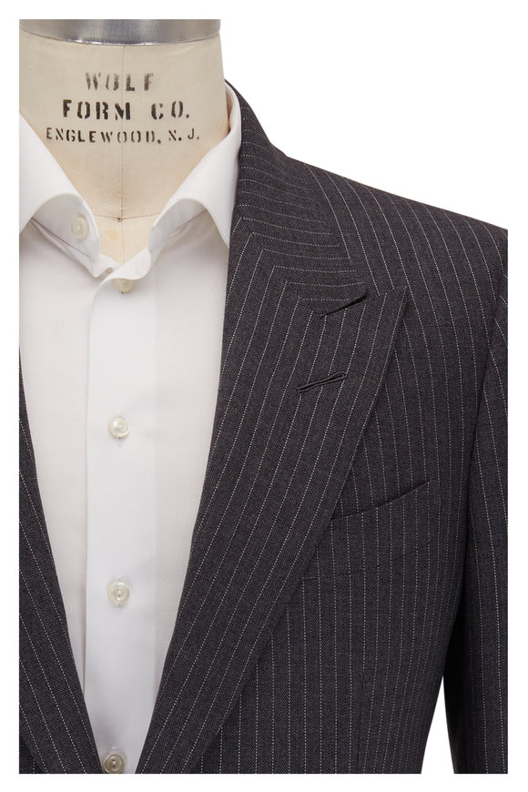 Tom Ford Charcoal Grey Striped Wool & Silk Peak Lapel Suit