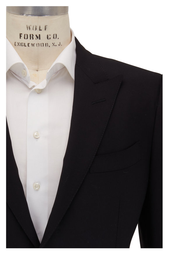 Tom Ford Black Bistretch Plain Weave Peak Lapel Suit
