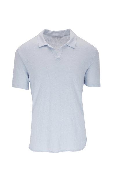 Officine Generale - Simon Pale Blue Linen Polo
