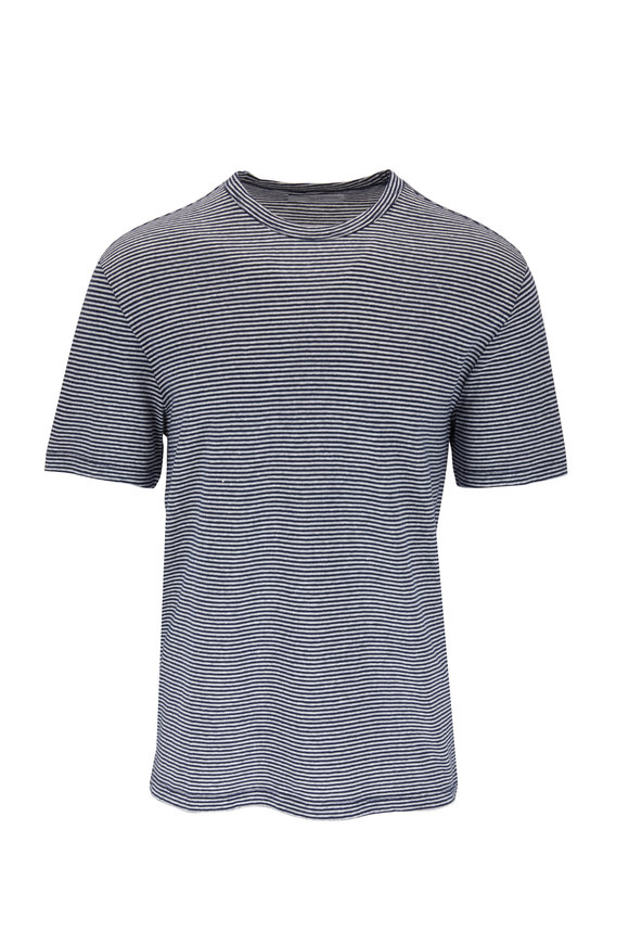 Officine Generale Navy Blue Stripe Cotton & Linen T-Shirt
