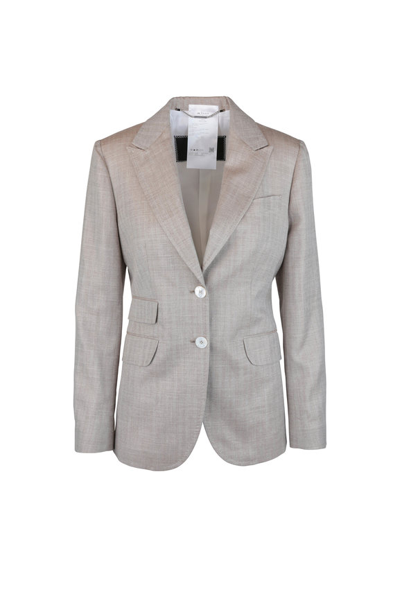 Kiton Beige Herringbone Wool, Silk & Linen Jacket