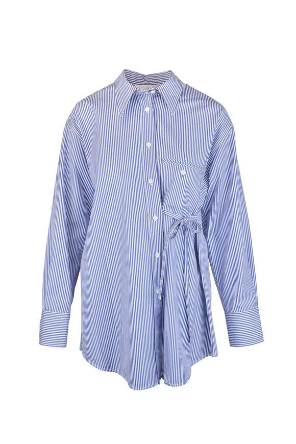 Chloé Blue & White Striped Blouse