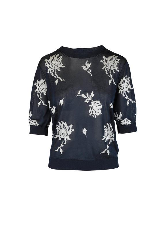 Chloé Navy Blue Floral Knit Sweater
