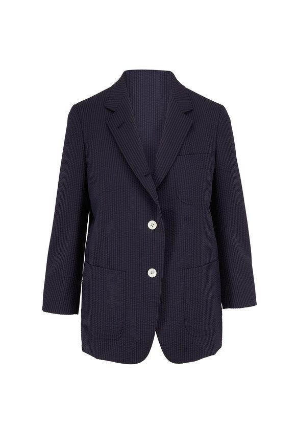 Thom Browne Schoolboy Navy Wool Seersucker Jacket
