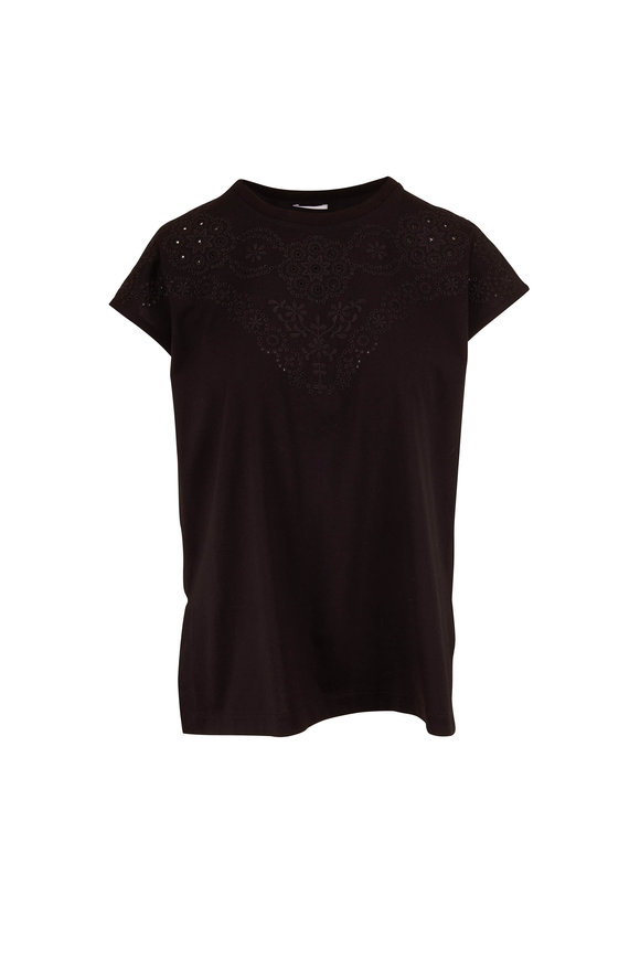 Escada Black Cotton Embroidered Raglan Top