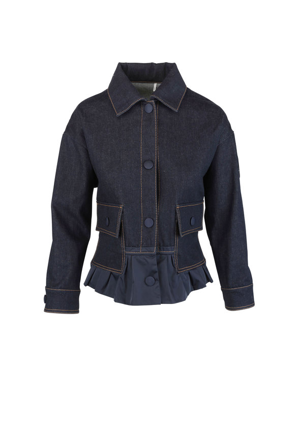 Moncler Navy Blue Peplum Hem Denim Jacket