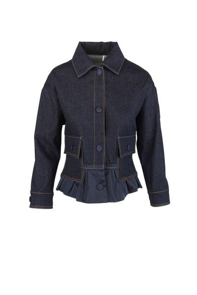 Moncler - Navy Blue Peplum Hem Denim Jacket