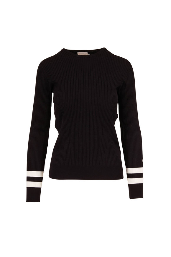 Moncler Black Crewneck Stripe Cuff Ribbed Knit Top