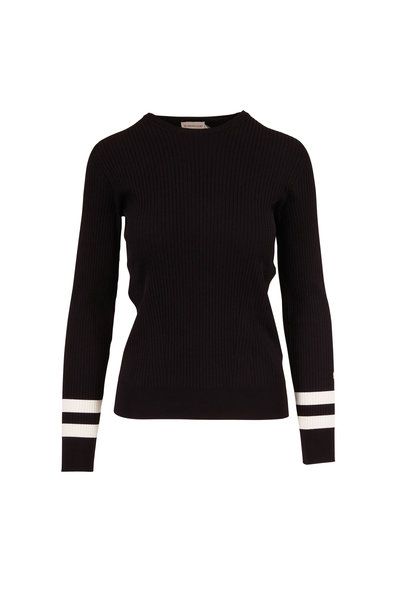 Moncler - Black Crewneck Stripe Cuff Ribbed Knit Top