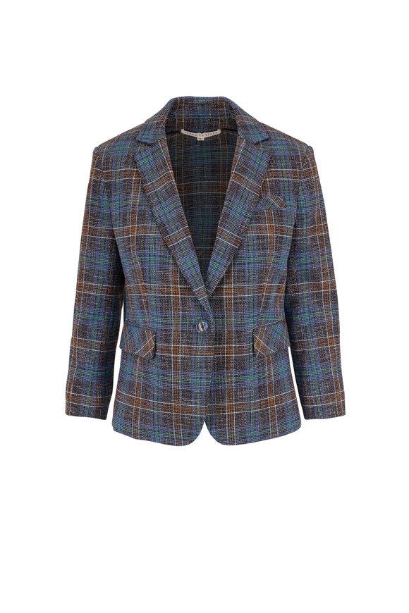 Veronica Beard Schoolboy Blue Multi Plaid Dickey Jacket