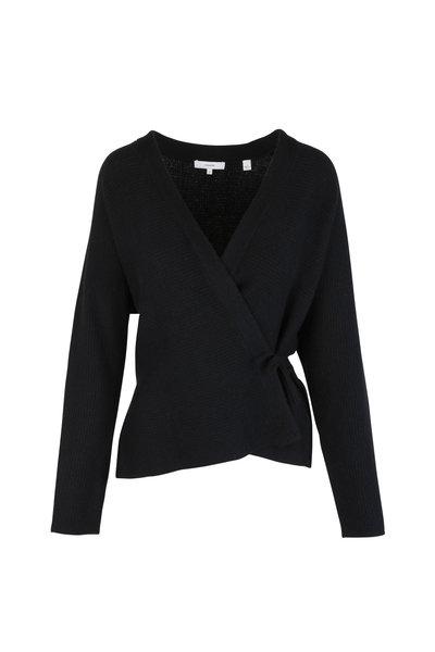 Vince - Black Wool & Cashmere Wrap Cardigan