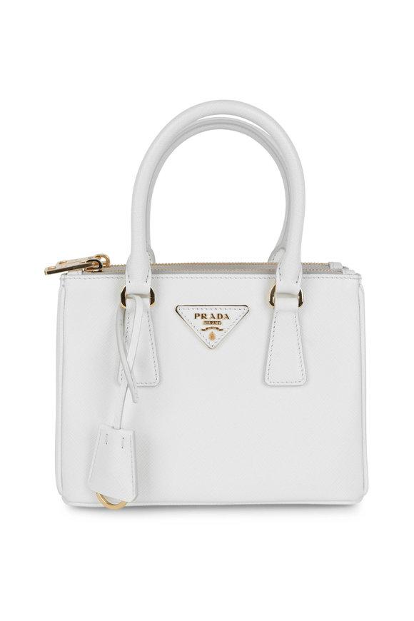 Prada Prada White Leather Top Handle Small Tote