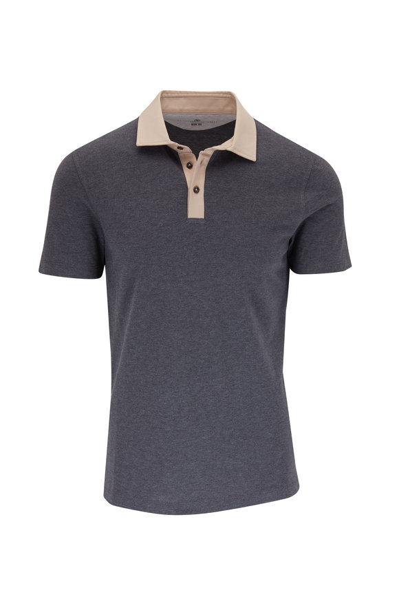 Brunello Cucinelli Gray Contrast Collar Short Sleeve Polo