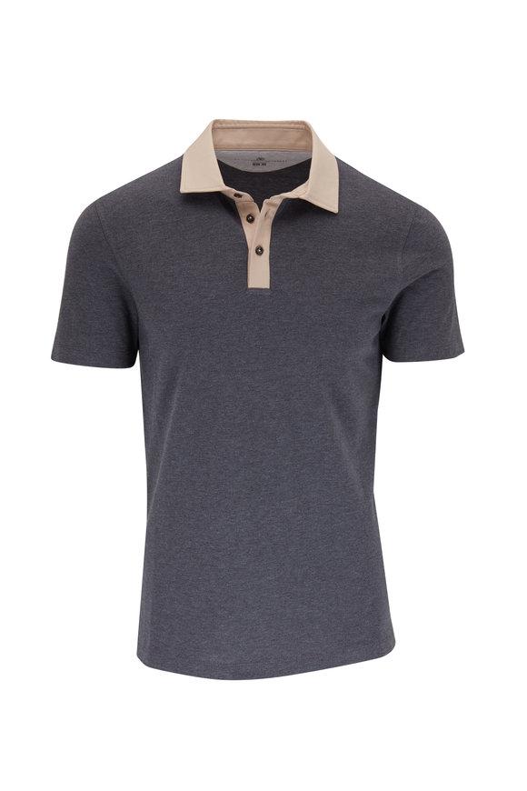 Brunello Cucinelli Gray Contrast Collar Short Sleeve Polo