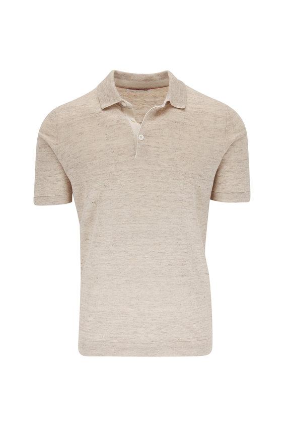 Brunello Cucinelli Oat Linen & Cotton Short Sleeve Polo