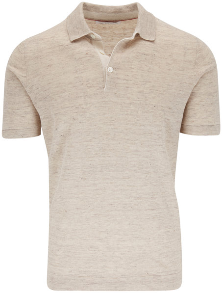 Brunello Cucinelli Oat Linen & Cotton Short Sleeve Polo