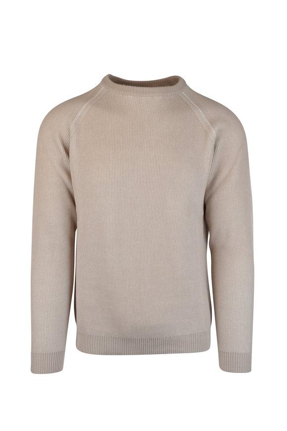 Maurizio Baldassari Beige Ribbed Crew Neck Sweater