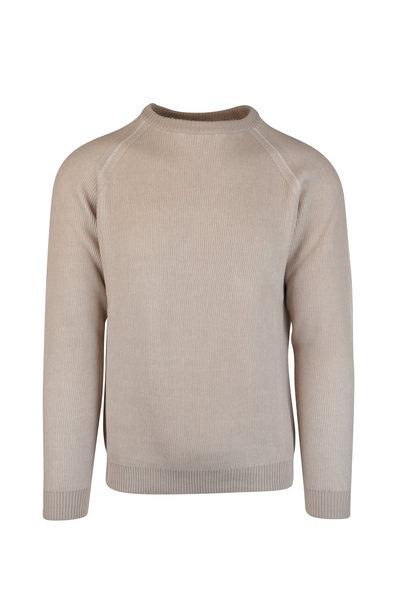 Maurizio Baldassari - Beige Ribbed Crew Neck Sweater