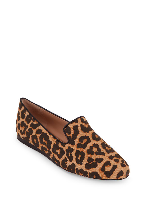 Veronica Beard Griffin Leopard Print Canvas Flat