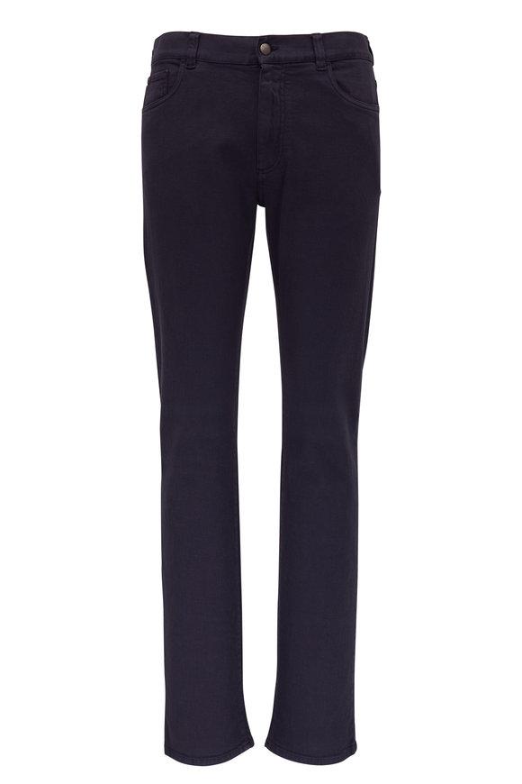 Canali Navy Blue Five Pocket Regular Fit Pant