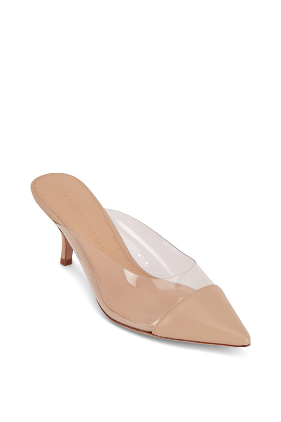 Veronica Beard Maddie Nude Leather & PVC Mule, 65mm
