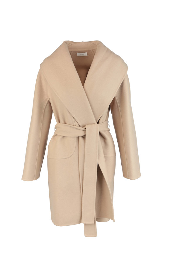 The Row Maddy Tan Wool Blend Wrap Coat