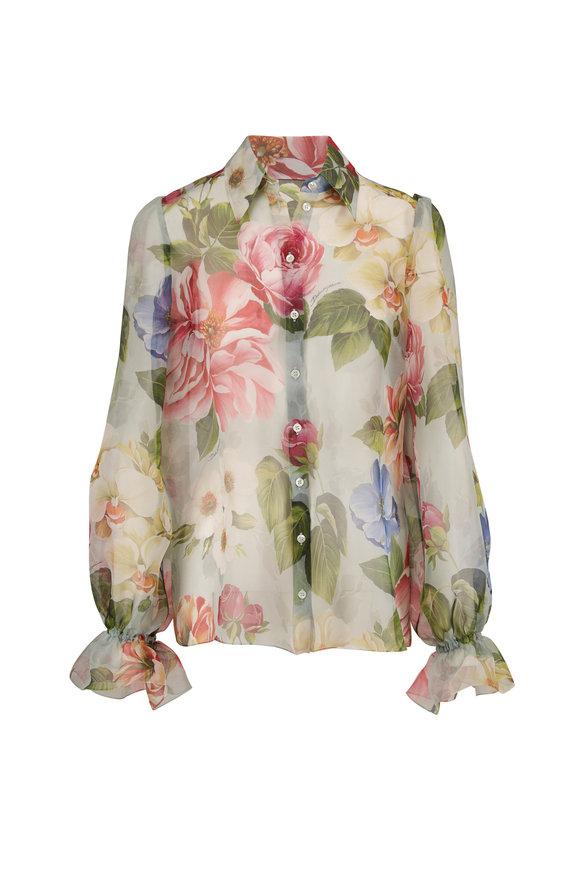 Dolce & Gabbana Sky Blue Sheer Silk Floral Print Blouse