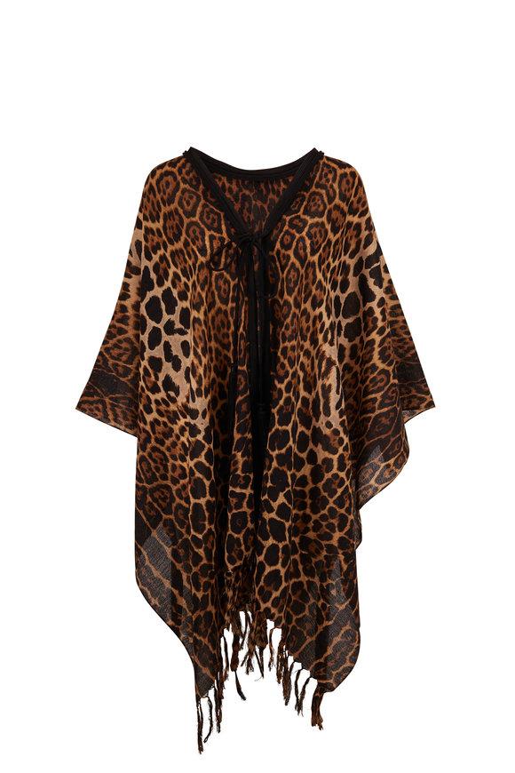 Saint Laurent Leopard Print Wool Tasseled Long Poncho