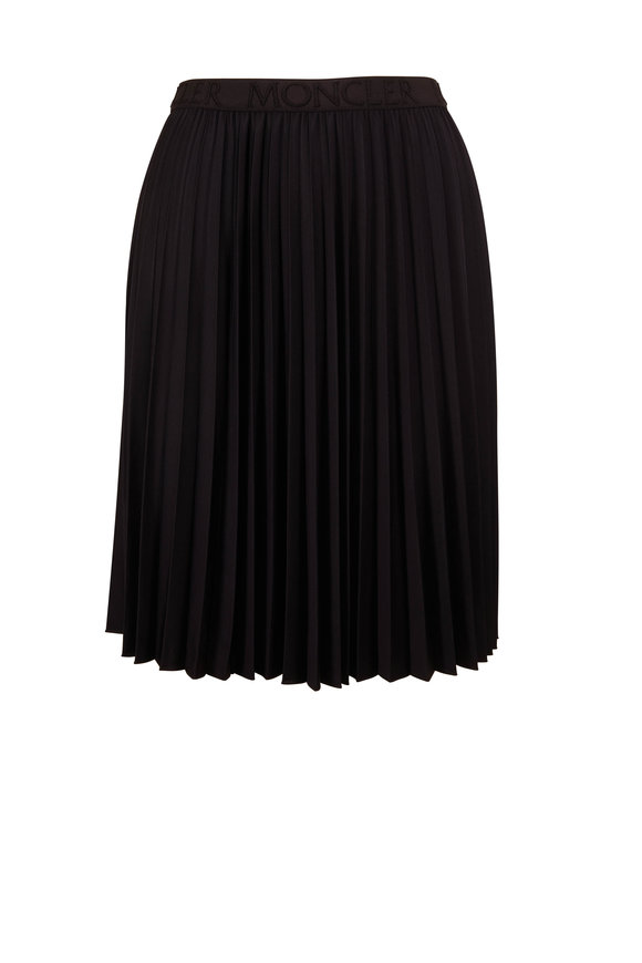 Moncler Black Pleated Pull-On Skirt