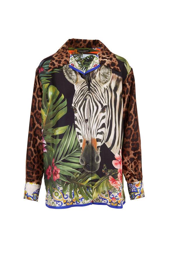 Dolce & Gabbana Leopard & Zebra Print Silk Relaxed Blouse