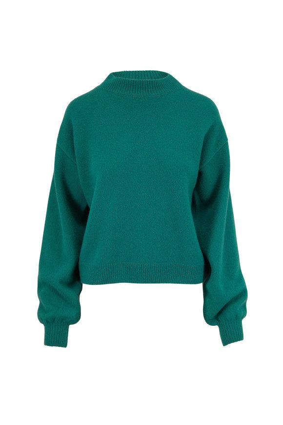 Sally LaPointe Green Cashmere & Silk Mockneck Sweater